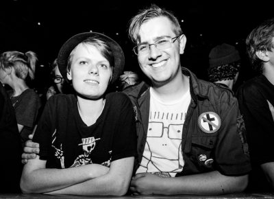 David and Daniel waiting for the Descendents' set. Photo Gilbert Cisneros
