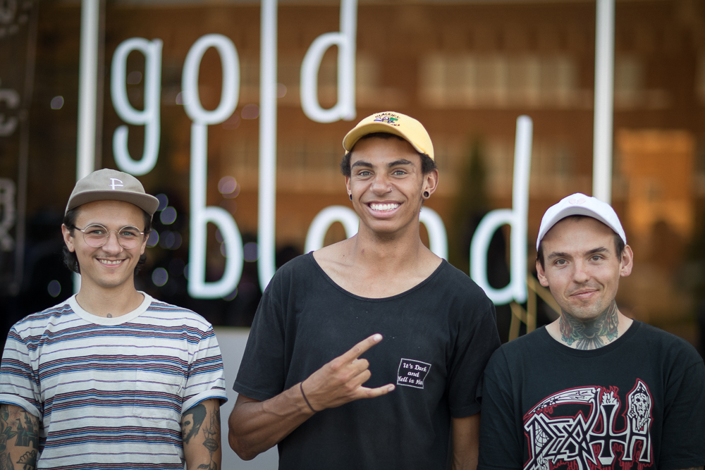 (L–R) Shea Ledesma, Adrian Evans and Matthew Windsor host an opening party for their Gold Blood Collective BMX bikes and style shop on 1526 S. State Street in Salt Lake. Photo: John Barkiple