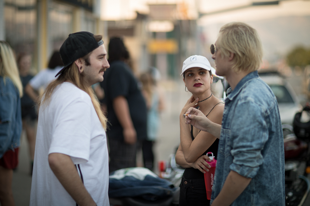 (L–R) Jordan Pack chats with Sara Collins and Yung Goya. Look for Yung Goya to perform at Gold Blood on Aug. 19. Photo: John Barkiple