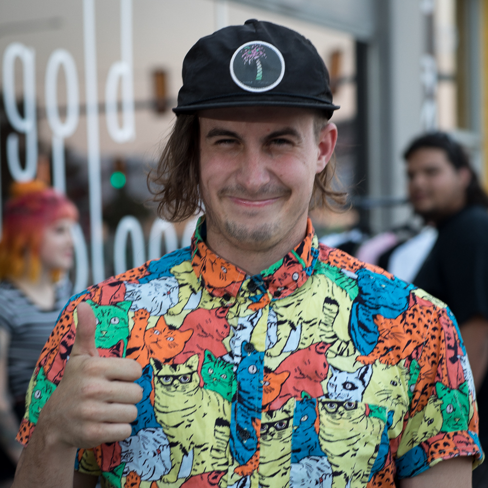 The Gold Blood Collective attracts artists like Bryan Perrenoud (@shmoxd) who produces DIY videos about making tie-dyed T-shirts, embroidered patches and enameled pins. Photo: John Barkiple