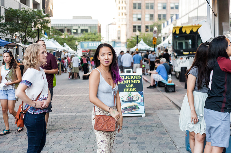 Sarah stands in line waiting for some delicious Banh Mi Time. Photo: Chris Gariety
