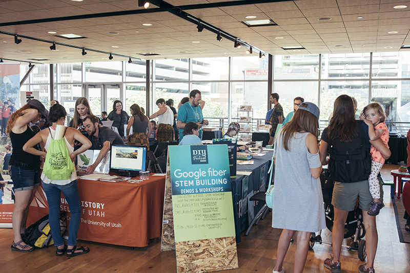 A crowd of science enthusiasts visit the booths in the Google Fiber STEM Building. Photo: @william.h.cannon