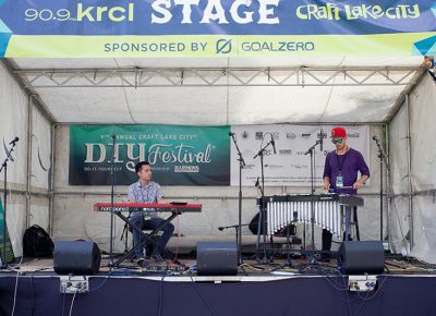 The Vibe Duo playing at the 90.9FM KRCL Stage, a pleasant mixture of vibraphone and piano with jazz flair. @cezaryna