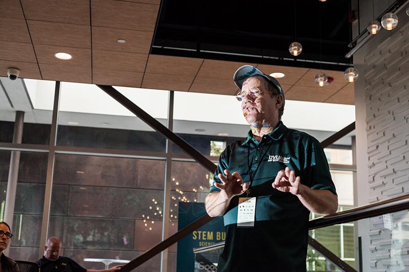 Phil Matheson of UVU Physics talks some science. Photo: Chris Gariety