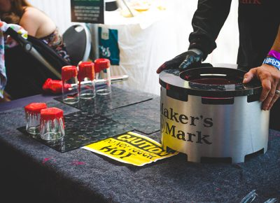 Maker's Mark put on a hand-dipped, red-wax glassware demo for VIP members, giving them an opportunity to take home some souvenirs. Photo: @taylnshererphoto