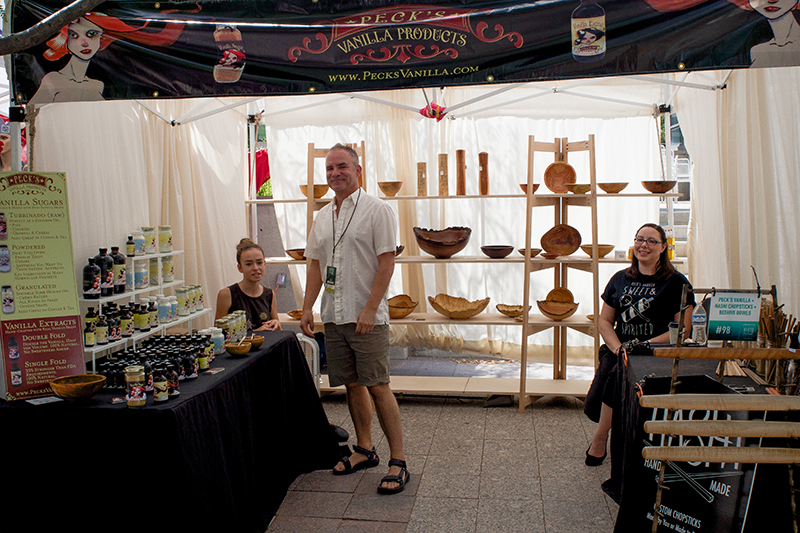 Alan Peck at Peck's Vanilla Products anticipating many visitors on the last day of the DIY Festival. @cezaryna