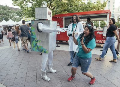 """The Craft Lake City robot being instructed to run """"Protocol Zombie."""" Photo: @william.h.cannon"""