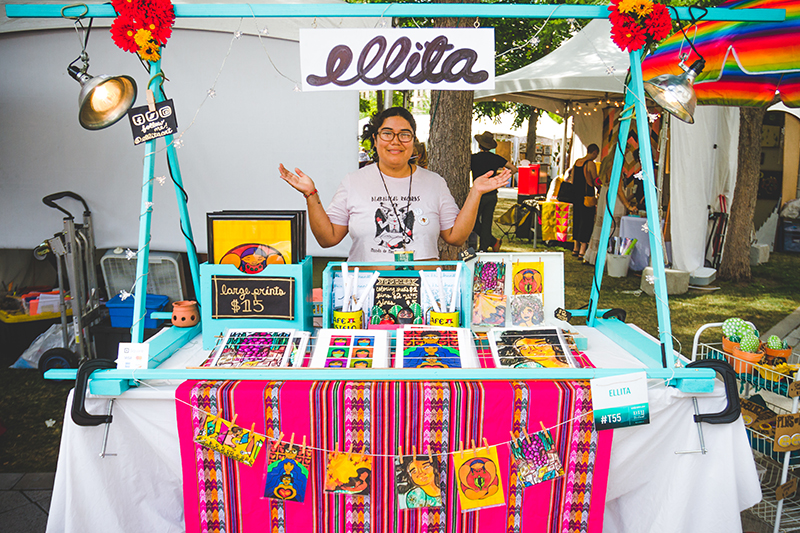 Ella Mendoza of Ellita showcases their revolutionary artwork that is adorned with bright and vibrant colors. Photo: @taylnshererphoto