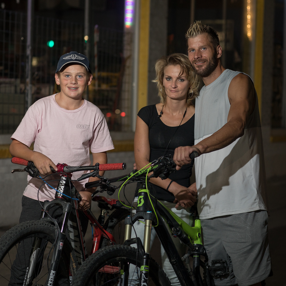 Tylan, Elizabeth and Justin check out Gold Blood's opening. Tylan races BMX in Herriman. Photo: John Barkiple