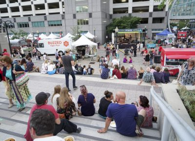 People enjoying music and food at the 90.9FM KRCL Stage. Photo: @jaysonrossphoto