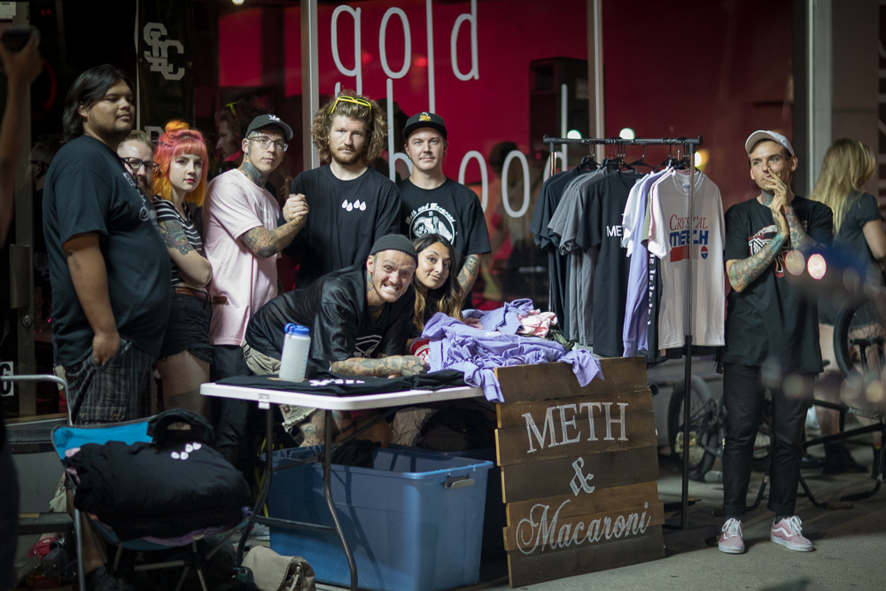 The Meth & Macaroni pop-up crew staked out the sidewalk in front of Gold Blood's 1526 State Street location. Photo: John Barkiple