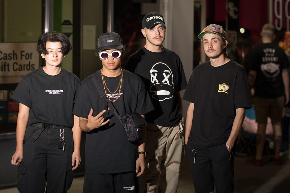 "(L–R) Gloria, Pierre, Roh and Rhetro arrived in black-clad street style repping 9th & 9th's Hathenbruck, Caleb Flowers and Brynne Perry's careful edit of ""globally recognized apparel, footwear & accessories."" Photo: John Barkiple"