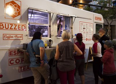A crowd orders coffee from the Buzzed Coffee Truck. Photo: @jbunds