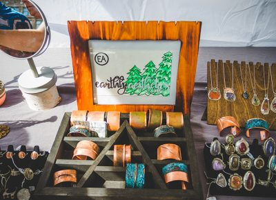 Earthly Aesthetics' display of copper bands, gemstone rings and bejeweled necklaces were sure to catch anyone's wandering eye. Photo: @taylnshererphoto