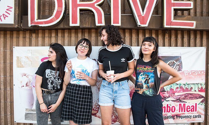 It's all glitter punk with Peach Dream's Paula Bravo, Emma Lynn, Sarita Ford and Shelly Rose. Photo: Gilbert Cisneros
