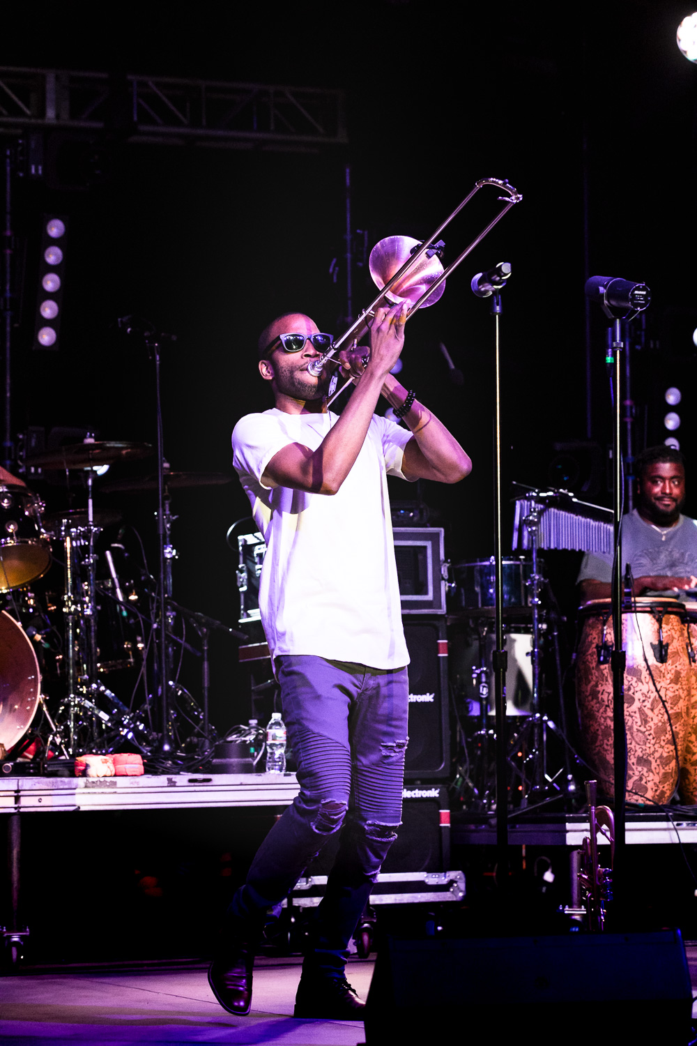 Trombone Shorty playing his signature instrument at Red Butte Amphitheatre. Photo: Lmsorenson.net
