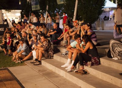 Patrons watching Joshy Soul and the Cool on the SLUG Mag Stage. Photo: @jbunds
