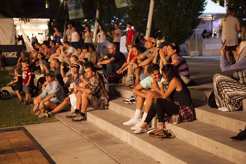Patrons watching Joshy Soul and the Cool on the SLUG Mag Stage. Photo: @jbunds