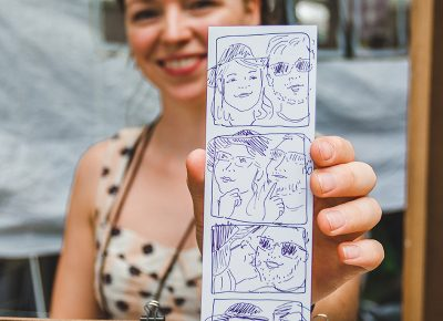 Artist Natalie Allsup-Edwards of the Hand Drawn Photo Booth gives you a personalized Craft Lake City creation unlike any other. Photo: @taylnshererphoto