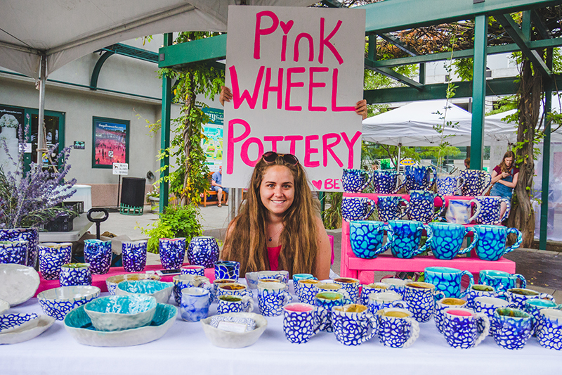 Beyza Kilic of Pink Wheel Pottery showed off her unique hand-crafted cups, bowls and plates. Photo: @taylnshererphoto