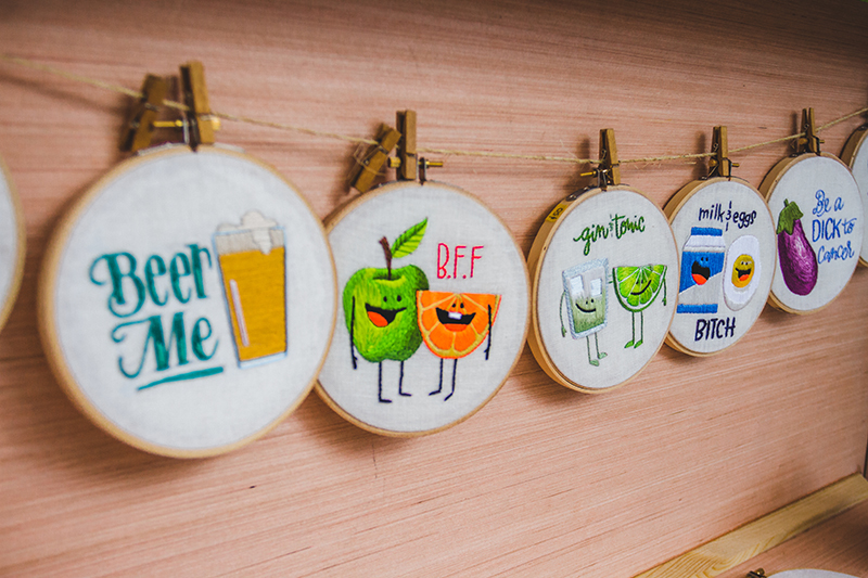 Sarah Beth Timmons' cross-stitched art is sure to put a smile on anyone's face. Photo: @taylnshererphoto