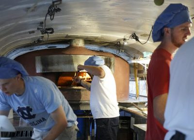 Inside Pompeii Pizza truck where they are creating the pizza. Photo: @jaysonrossphoto