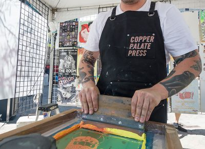 Copper Palate Press creating custom bags and shirts. Photo: @colton_marsala