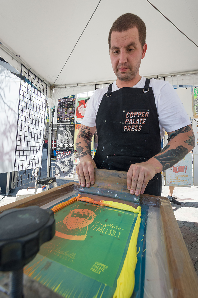 Copper Palate Press creating custom bags and shirts. Photo: @colton_marsala