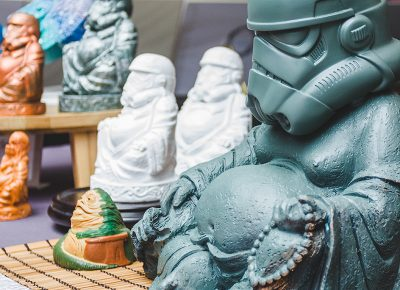 Stormtrooper Buddhas are not the deities you're looking for, but are certainly the ones you need thanks to Jenifer Elder of Tangents and Tentacles. Photo: @taylnshererphoto