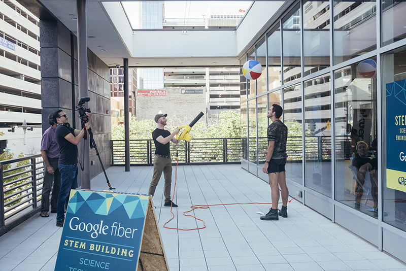 A science demonstration outside of the Google Fiber STEM Building. Photo: @william.h.cannon