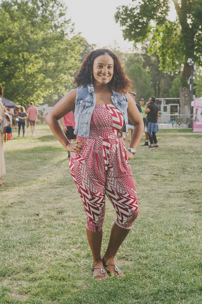 Keshia Leday in a wonderful pattern and denim vest. Photo: @clancycoop