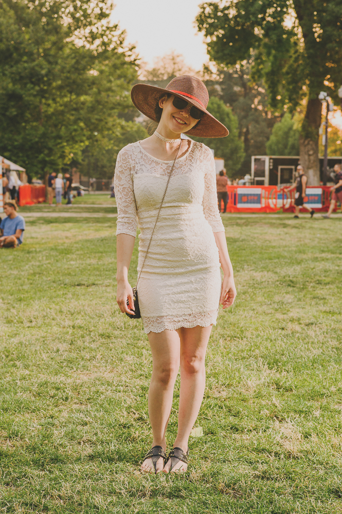Erika Prestwich in a delicate dress and hat. Photo: @clancycoop