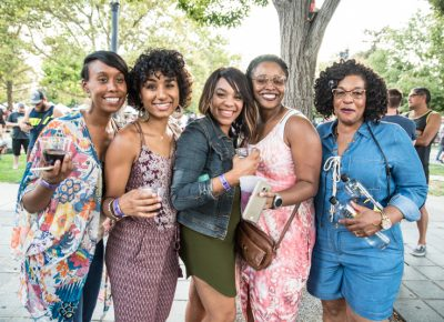 Trish, Chrisitina, Lynne, Amber and Jackie were having a good time before Solange's set. Photo: Gilbert Cisneros