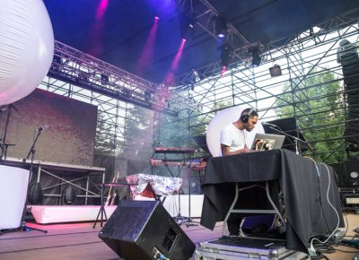 By the time Kaytranada's set started, Pioneer Park had filled for his set. Photo: Gilbert Cisneros