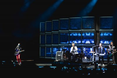 Muse playing onstage in SLC at USANA Amphitheatre. Photo: Lmsorenson.net