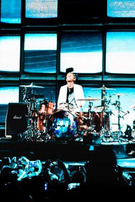 Drummer Dominic Howard, playing centerstage. Photo: Lmsorenson.net