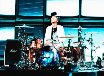 Drummer Dominic Howard, playing centerstage. Photo: Lmsorenson.net