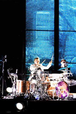Drummer Dominic Howard playing onstage at USANA. Photo: Lmsorenson.net