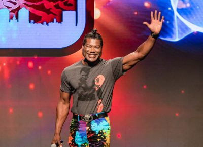 Christopher Judge from Stargate SG-1 is very happy to be at Salt Lake Comic Con. Photo: Lmsorenson.net