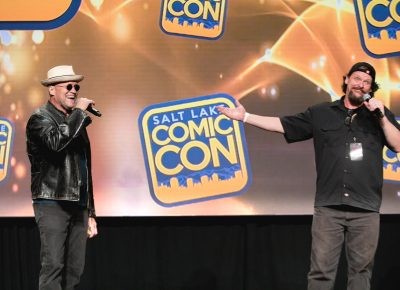 Michael Rooker and guest moderator Sean Smithson. Photo: Lmsorenson.net