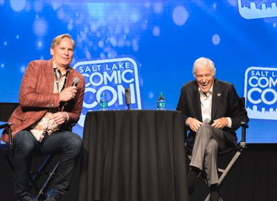 Dan Farr helps Dick Van Dyke moderate his panel during the guest Q&A. Photo: Lmsorenson.net