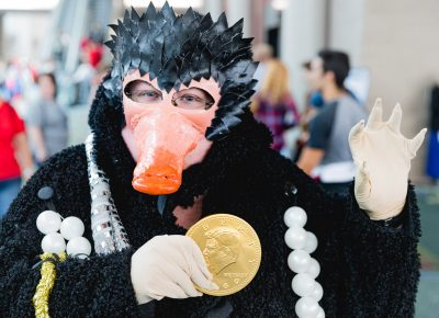 Cosplayer Jess with her terrific Niffler from Fantastic Beasts. Photo: Lmsorenson.net