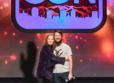 Gates McFadden and Will Wheaton share an onstage hug. Photo: Lmsorenson.net