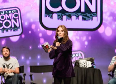 Gates McFadden auctions off her custom Dr. Crusher Funko figure for hurricane victim relief. Photo: Lmsorenson.net
