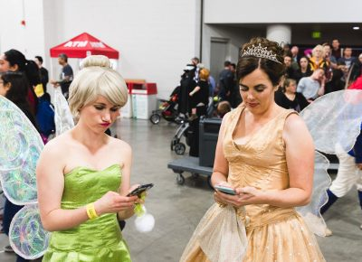 Even fairies get bad cell reception. Pictured are Hannah and Kari. Photo: Lmsorenson.net