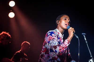 A beautiful combination of blue and red stage light illuminate Szjerdene. Photo: ColtonMarsalaPhotography.com