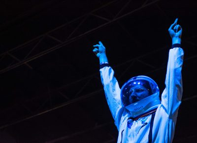 Space man of STRFKR gets the crowd pumped. Photo: ColtonMarsalaPhotography.com