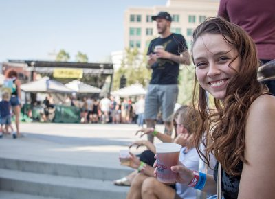 Ellyx Jolley enjoys a cold one before her favorite band Pinback starts. Photo: ColtonMarsalaPhotography.com