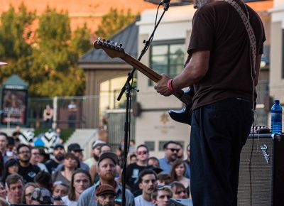Built To Spill rocks the stage as the sun begins to set over The Gateway. Photo: ColtonMarsalaPhotography.com