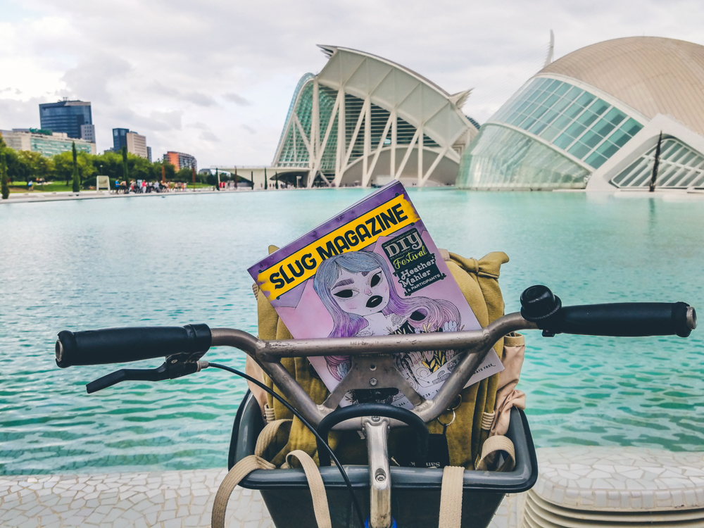 Our last day in Valencia was spent bike riding down to the City of Arts and Science, where we soaked up the view of the incredible architecture around us. Photo: Talyn Sherer